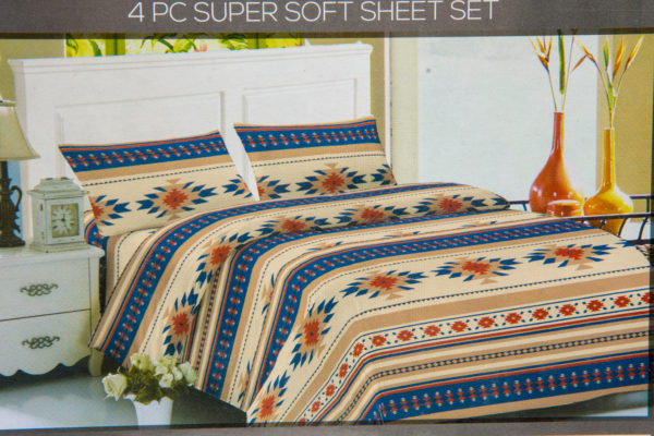 New Morning Native Design Sheet Set Full Blue Beige Mockup