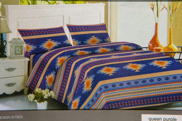 New Morning Native Design Sheet Set Full Purple Mock Up