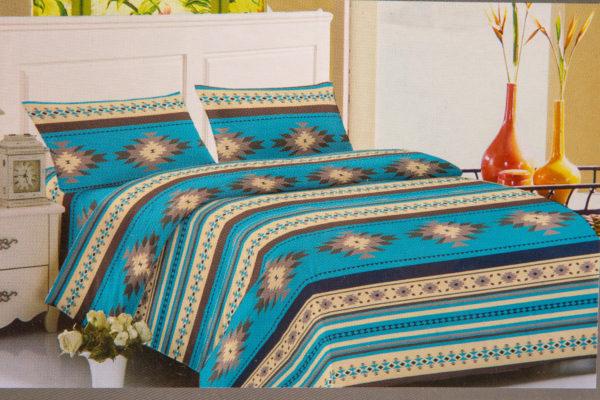 New Morning Native Design Sheet Set Full Turquoise Mock Up