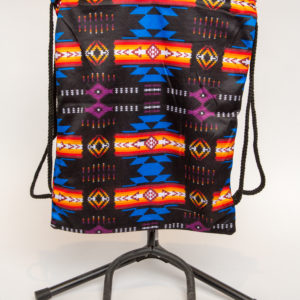 Traditional Native Design Drawstring Backpack Black
