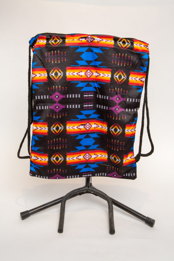 Traditional Native Design Drawstring Backpack Black