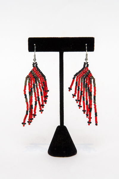 Tulsa Unique Gifts Classic Fringe Earrings Red Black Bronze