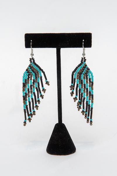 Tulsa Unique Gifts Classic Fringe Earrings Turquoise Black Bronze