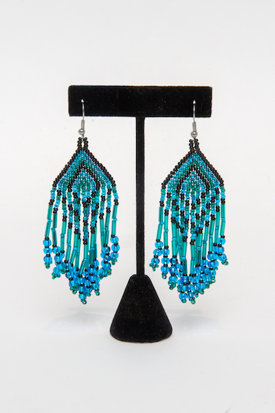 Tulsa Unique Gifts Fringe Earrings Green Black Blue