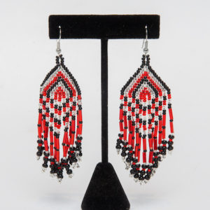 Tulsa Unique Gifts Fringe Earrings Red Black Crystal