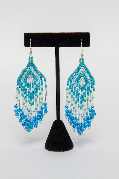 Tulsa Unique Gifts Fringe Earrings Turqouise Blue Crystal