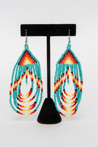 Tulsa Unique Gifts Swoop Earrings Turquoise EA505 114 2T